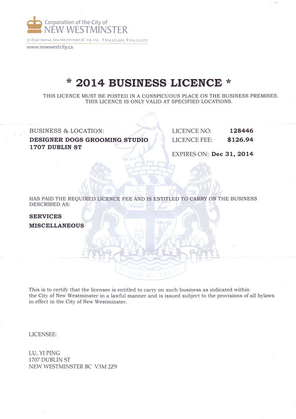 City of New Westminster Business License